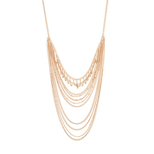 "Rose gold tone layering necklace set featuring multiple strands of chain links. Approximately 25"" in length."