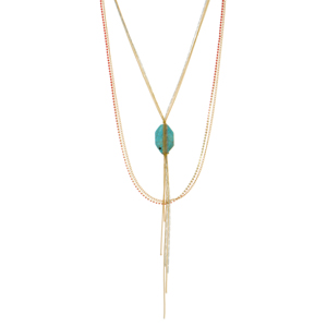 "Two tone multiple strand necklace featuring a red stand of stones and a turquoise chain wrapped natural stone with a metal tassel. Approximately 37"" in length."
