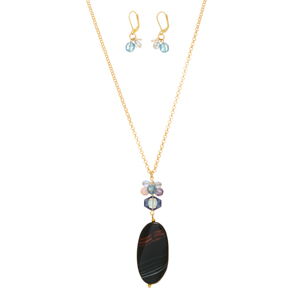 "27"" Gold tone necklace set featuring a black oval natural stone pendant with a cluster of beads. Handmade in the USA."