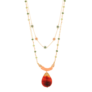 "Gold tone layering necklace set featuring green and light topaz glass beads with a topaz teardrop shape natural stone pendant. Approximately 30"" in length."
