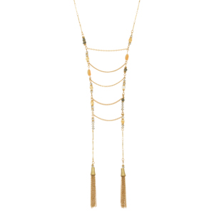 "Gold tone necklace featuring brown moss and pyrite natural stones with metal drapes and tassels. Approximately 36"" in length."