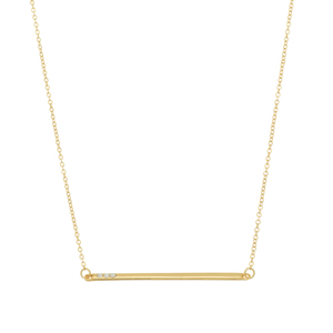 Gold tone necklace featuring a bar with rhinestone accents. Approximately 18' in length.