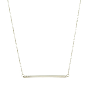 Silver tone necklace featuring a bar with rhinestone accents. Approximately 18' in length.