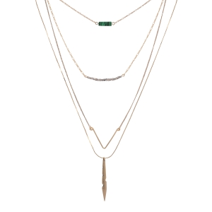 "Gold tone layering necklace featuring a green stone, gray beads, an angled bar, and a bar with rhinestone accents. Approximately 29"" in length."