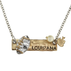 "18"" two tone necklace with a stamped bar featuring ""Louisiana"" and football charms"