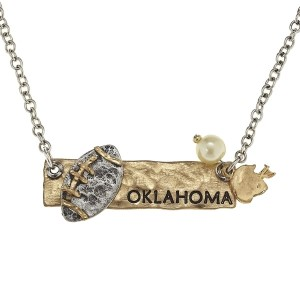 "18"" two tone necklace with a stamped bar featuring ""Oklahoma"" and football charms"