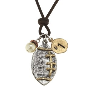 "21"" Leather cord necklace with a two tone football charm, a pearl tone bead, and a #1 stamped charm"