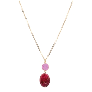 "Gold tone necklace featuring a pink foiled round druzy quartz stone with a hanging fuchsia stone. Approximately 16"" in length. Handmade in the USA."