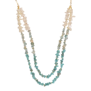 "Gold tone double layered necklace featuring turquoise, mint green, and white chipstone. Approximately 34"" in length. Handmade in the USA."