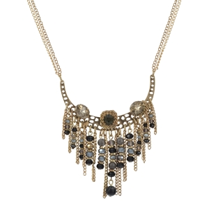 "Gold tone double stranded necklace featuring a curved casting with topaz and gray rhinestones and a cluster of metal fringe and black and gray beads. Approximately 26"" in length."