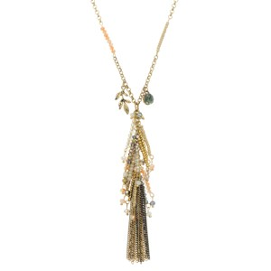 "Burnished gold tone necklace with a cluster of beige, gold, and ivory beads and a metal tassel. Approximately 31"" in length."