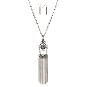 "Burnished silver tone necklace set displaying gray beads and a decorative pendant with chain fringe. Approximately 30"" in length. Additional 6"" with pendant and fringe."