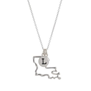 "Silver tone necklace with a cutout state of Louisiana pendant and a ""L"" charm. Approximately 18"" in length."