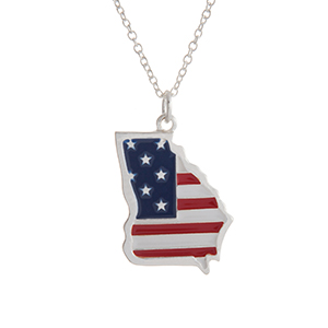"Silver tone necklace with an American flag inspired state of Georgia pendant. Approximately 18"" in length."