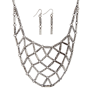 "Burnished silver tone necklace set displaying a metal net casting with rhinestone accents. Approximately 16"" in length."