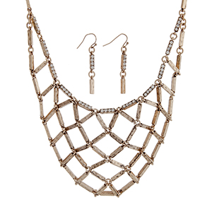 "Burnished gold tone necklace set displaying a metal net casting with rhinestone accents. Approximately 16"" in length."