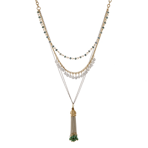 "Two tone layering necklace set with mint and gray beads and a capped 2"" chain tassel with beads. Approximately 39"" in length."