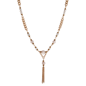 "Gold tone chain link necklace displaying gray beads with a 1 1/2"" chain tassel. Approximately 18"" in length."