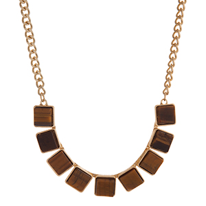 "Gold tone necklace displaying tiger eye square natural stones. Approximately 16"" in length."