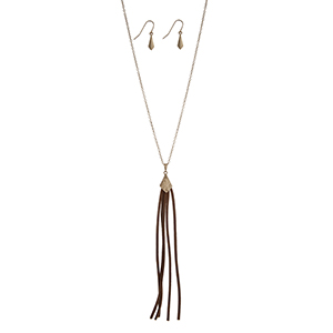 "Gold tone necklace set displaying a capped dark brown tassel. Approximately 30"" in length."