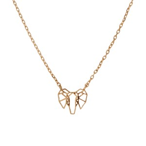 "Gold tone necklace with a dainty cutout elephant charm. Approximately 17 1/2"" in length."