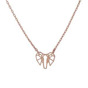 "Rose gold tone necklace with a dainty cutout elephant charm. Approximately 17 1/2"" in length."