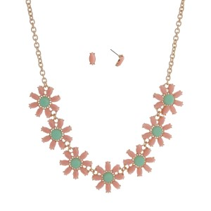 "Gold tone necklace set displaying peach floral shaped cabochons with a mint green focal. Approximately 16"" in length."