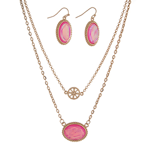 "16"" Gold tone necklace set with a hot pink oval pendant and matching 1"" earrings."