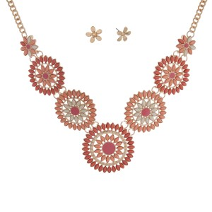 "Gold tone necklace set displaying a floral shaped casting with pink, peach, and ivory cabochons. Approximately 16"" in length."