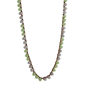 """Mint and gray glass bead crochet necklace. Approximately 33"""" in length."""