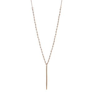 "Gold tone black diamond glass bead linked spear necklace. Approximately 25"" in length."