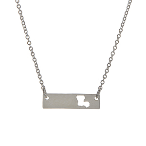 "Dainty silver tone bar necklace with a cutout state of Louisiana. Approximately 15"" in length."