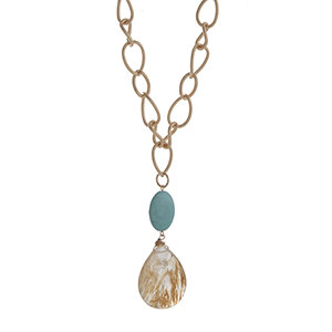 "Gold tone chain link necklace displaying a turquoise oval stone with a hanging brown moss teardrop shape stone. Approximately 30"" in length."
