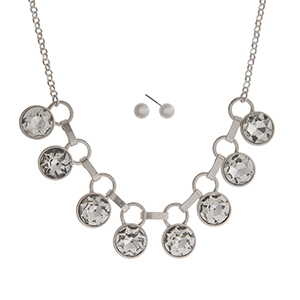 "Matte silver tone necklace set displaying clear round rhinestones. Approximately 16"" in length."