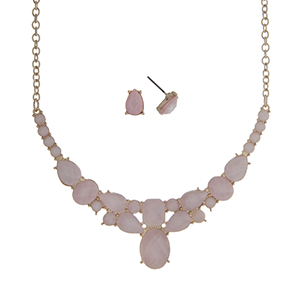 """Gold tone necklace set displaying multiple shape pink cabochons. Approximately 16"""" in length."""