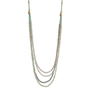 "Gold tone necklace displaying rows of layered mint and gray beads. Approximately 33"" in length."