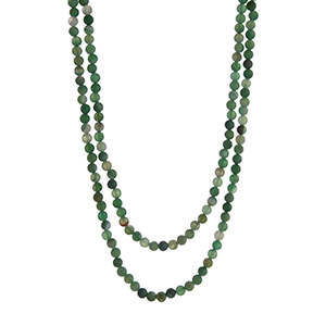 "Long green glass bead layering necklace. Approximately 60"" in length."