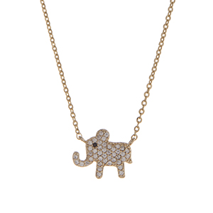 "Dainty gold tone pave elephant necklace. Approximately 15"" in length."