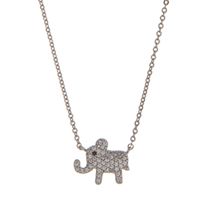 "Dainty silver tone pave elephant necklace. Approximately 15"" in length."