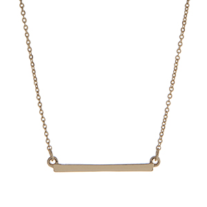 "Dainty gold tone bar necklace. Approximately 15"" in length."