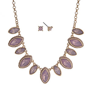 """Gold tone necklace set displaying pink marquee shape cabochons. Approximately 15"""" in length."""