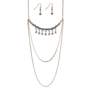 "Gold tone bar necklace set with turquoise colored beads and clear rhinestone accents. Approximately 30"" in length."