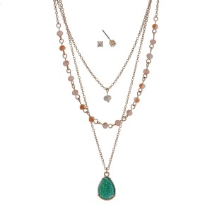 "Gold tone triple layer necklace set with a pearl bead, topaz glass beads, and a mint green druzy teardrop pendant. Approximately 20"" in length."