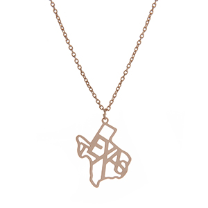 "Dainty gold tone necklace featuring the state of Texas pendant. Approximately 18"" in length."