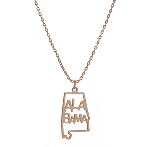 "Dainty gold tone necklace featuring the state of Alabama pendant. Approximately 18"" in length."