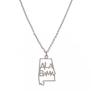 "Dainty silver tone necklace featuring the state of Alabama pendant. Approximately 18"" in length."