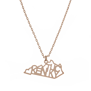 "Dainty gold tone necklace featuring the state of Kentucky pendant. Approximately 18"" in length."