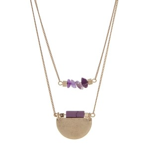 "Burnished gold tone double row necklace with purple chip stones and a purple natural stone pendant. Approximately 18"" in length."