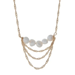 "Gold tone necklace with a freshwater pearl bead pendant. Approximately 32"" in length."