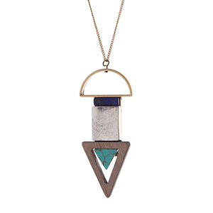 "Gold tone necklace with a geometrical pendant featuring turquoise natural stones. Approximately 32"" in length."